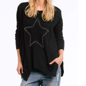 ELLOS beaded star front hankie SWEATER 91s3